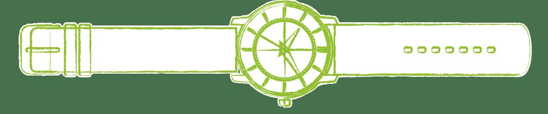 dessin montre verte en PNG